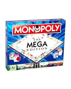 Mega Monopoly Brettspill er en ekstra stor utgave av det klassiske Monopol! Her får du 12 ekstra felter, deriblant 8 flere gatenavn. I tillegg til hus og hoteller kan du nå bygge skyskrapere med enda større leie!     Spillet inneholder en spesialterninger