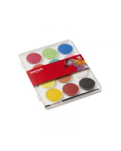 Maleskrin fra Penol med 12 store vannmaling farger og en pensel. Hver farge måler ca 5 cm i diameter. Skrinet måler ca 24 x 19 cm.